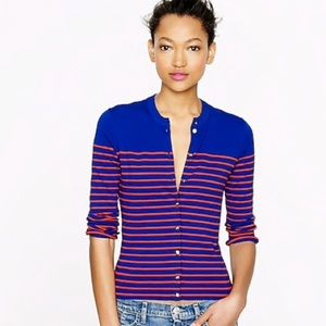 J.Crew Jackie cardigan stripes with anchor buttons